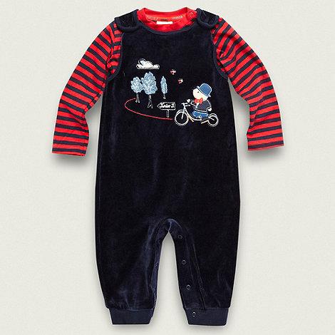 J by Jasper Conran - Designer Babies navy velour bear dungarees