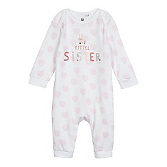 bluezoo - Baby girls' white and pink 'Little Sister' print sleepsuit