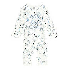 bluezoo - Baby girls' cream floral print 'Pretty Like Mummy' romper suit