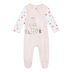 bluezoo - Baby girls' pink 'World's cutest alarm clock' print sleepsuit