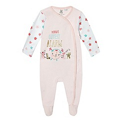 bluezoo - Baby girls' pink 'Worlds Cutest Alarm Clock' sleepsuit