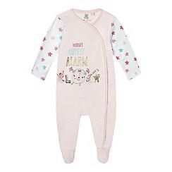 bluezoo - Baby girls' pink 'Worlds Cutest Alarm Clock' sleepsuit