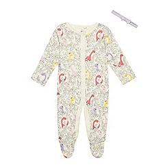 bluezoo - Baby girls' cream floral dinosaur sleepsuit