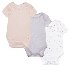 bluezoo - Baby girls' multi-coloured pack of three onesies