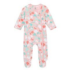 bluezoo - Baby girls' pink floral print fleece sleepsuit
