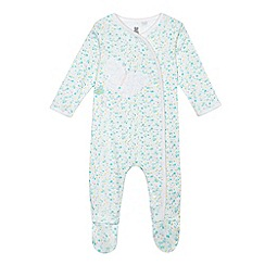 bluezoo - Baby girls' turquoise floral butterfly sleepsuit