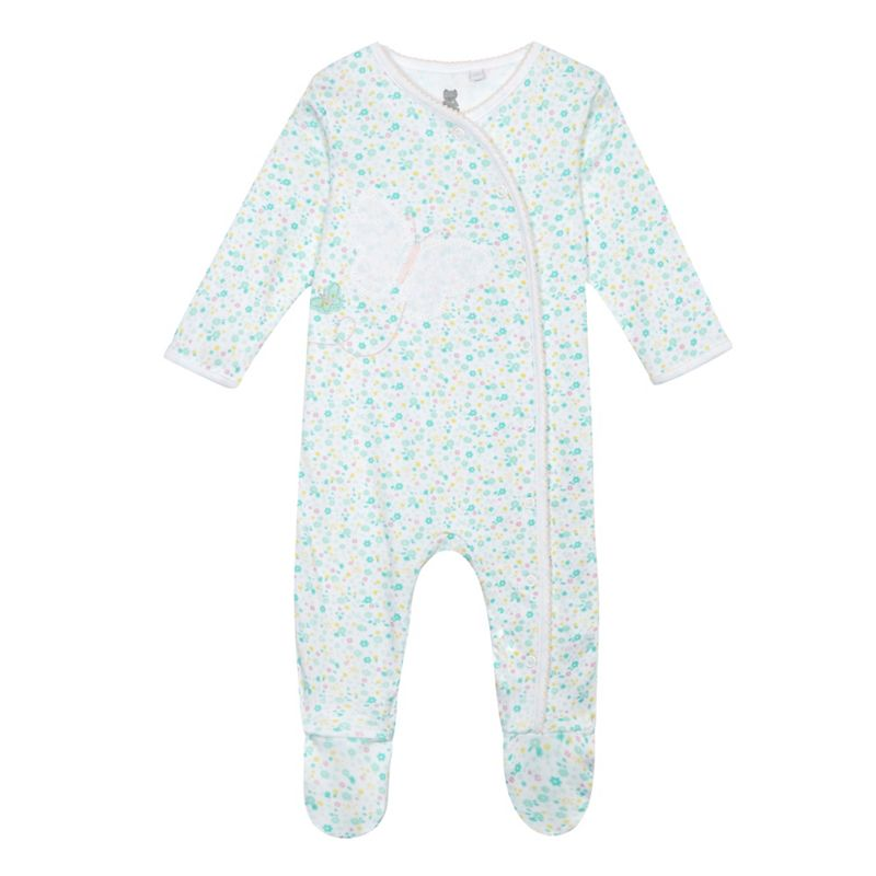 Bluezoo Baby Girls Turquoise Floral Butterfly Sleepsuit,