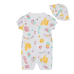 bluezoo - Baby girls' white seaside print romper suit and sun hat set