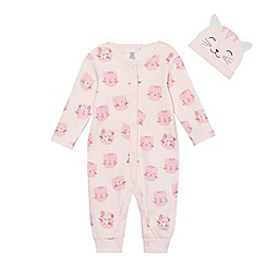 bluezoo - Baby girls' pink cat print sleepsuit and hat set