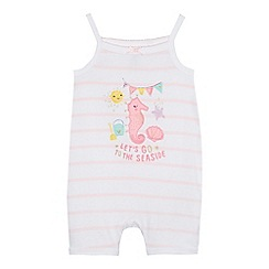 bluezoo - Baby girl's white seahorse romper suit