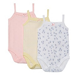 bluezoo - Baby girls' pack of three multicoloured assorted print vests