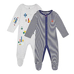 bluezoo - Pack of two baby boys' grey and navy stripe sleepsuits