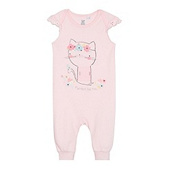 bluezoo - Baby girl's pink cat romper