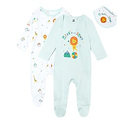 bluezoo - Pack of two baby boys' light blue and white printed sleepsuits with a bib