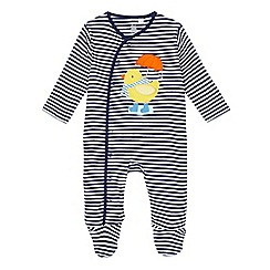 bluezoo - Baby boys' navy striped duck applique sleepsuit