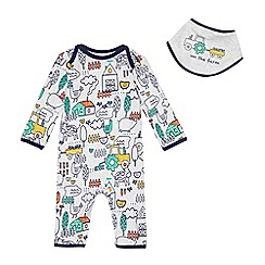 bluezoo - Baby boys' farm print sleepsuit and bib set