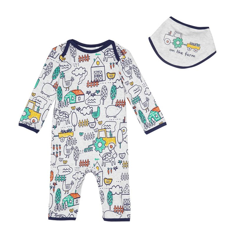 bluezoo Baby boys farm print sleepsuit and bib set
