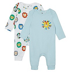 bluezoo - Pack of two baby boys' blue and white animal print sleepsuits