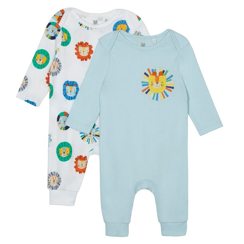 Bluezoo Pack of Two Baby Boys Blue and White Animal Print