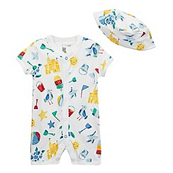 bluezoo - Baby boys' white seaside print romper suit and sun hat set