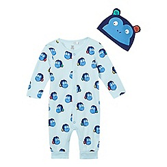 bluezoo - Baby boys' light blue monkey print romper suit and hat set