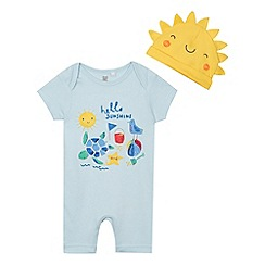 bluezoo - Baby boys' light blue beach applique romper suit and hat set