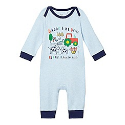 bluezoo - Baby boys' blue 'daddy & me' cotton sleepsuit