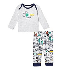 bluezoo - Baby boys' grey farmyard applique pyjama set