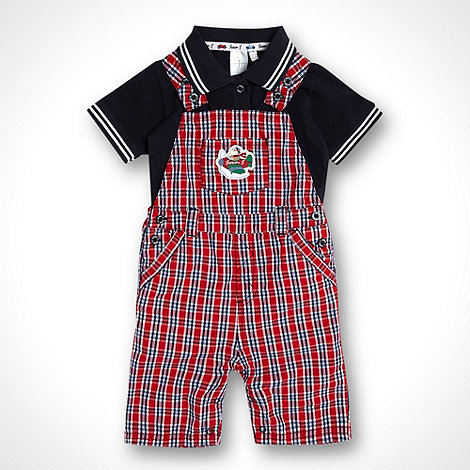 J by Jasper Conran - Designer Babies navy polo shirt and red checked short dungarees