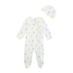 bluezoo - Baby boys' white fruit print sleepsuit
