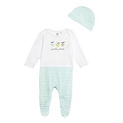 bluezoo - Baby boys' white and green lemons print sleepsuit