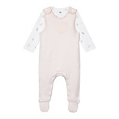 bluezoo - Baby girls' light pink striped dungarees and bunny print bodysuit set