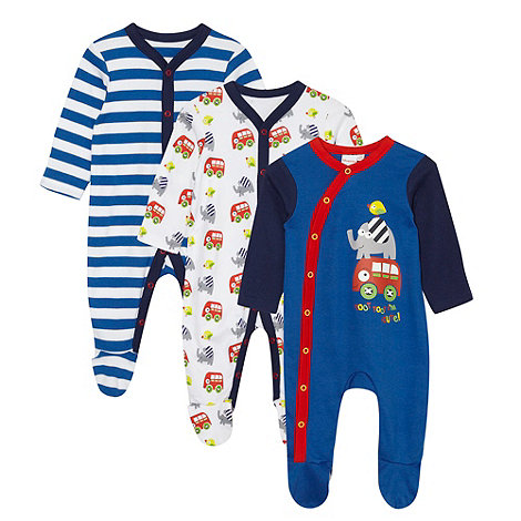 bluezoo - Babies pack of three dark blue animal baby grows