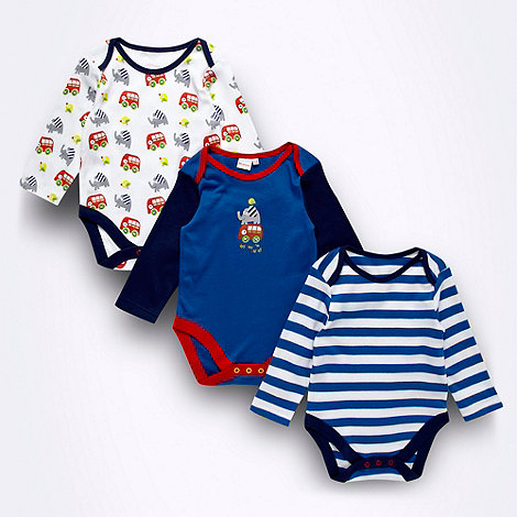 bluezoo - Pack of three Babies navy +Toot toot+ bodysuits