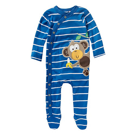 bluezoo - Babies blue striped monkey applique baby grow