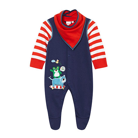 bluezoo - Babies navy bear applique baby grow