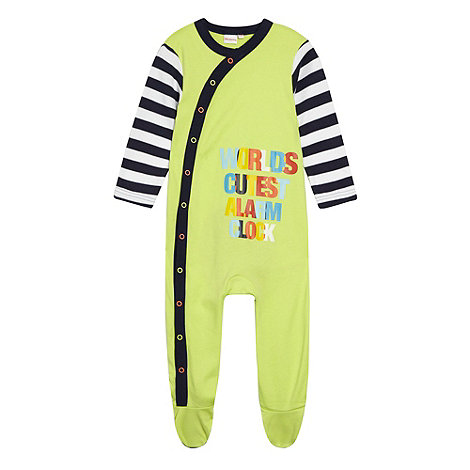 bluezoo - Babies lime green slogan printed baby grow