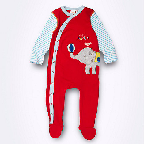 bluezoo - Babies red elephant applique baby grow