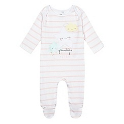 bluezoo - Baby girls' pink 'Grandad's little star' slogan print sleepsuit