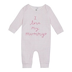bluezoo - Baby girls' pink 'I love my mummy' sleepsuit