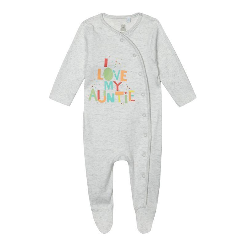 Bluezoo Baby Girls White I Love My Auntie Print Sleepsuit,