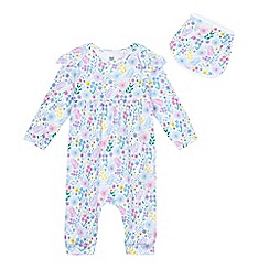 bluezoo - Baby girls' blue floral print sleepsuit and bib set