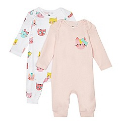 bluezoo - Pack of two baby girls' pink and white cat print sleepsuits