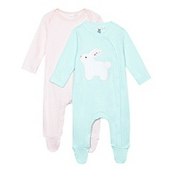 bluezoo - Pack of two baby girls' green and pink rabbit applique sleepsuits