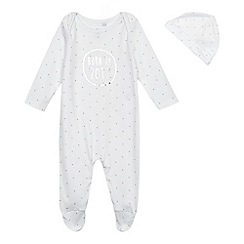 bluezoo - Babies' white  born in 2017  slogan sleepsuit