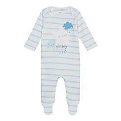 bluezoo - Baby boys' white striped 'Grandad's little star' sleepsuit