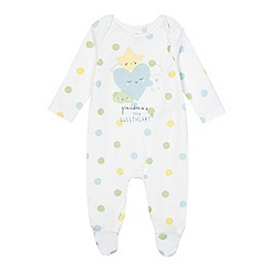 bluezoo - Baby boys' white spotted 'Grandma's little sweetheart' sleepsuit