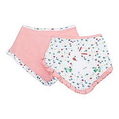 bluezoo - Pack of two baby girls' assorted bunny bibs