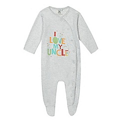 bluezoo - Baby boys' grey 'I Love My Uncle' print sleepsuit
