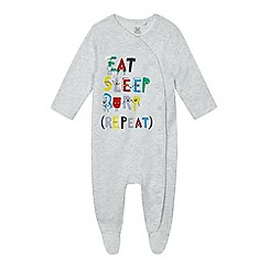 bluezoo - Baby boys 'Eat Sleep Burp Repeat' sleepsuit